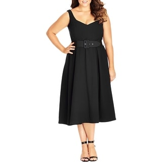 City Chic Womens Plus Party Dress Tea-Length Belted - XxL