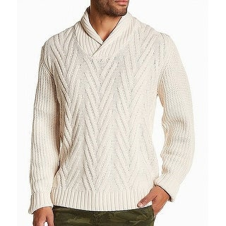 Weatherproof Mens Large Cable Knit Shawl Collar Sweater