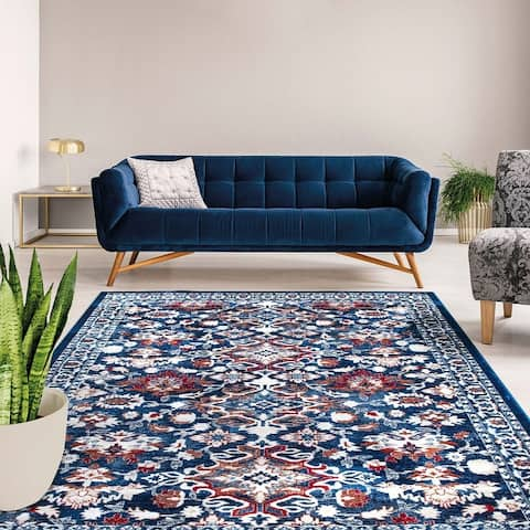 Tranditional Deep Blue Area Rug Floral Print Carpet Rug