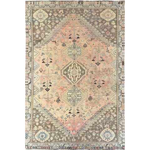 """Shahbanu Rugs Semi Antique Orange Persian Shiraz With Triple Medallion Worn Down Clean Hand Knotted Pure Wool Rug (5'5"""" x 8'4"""")"""