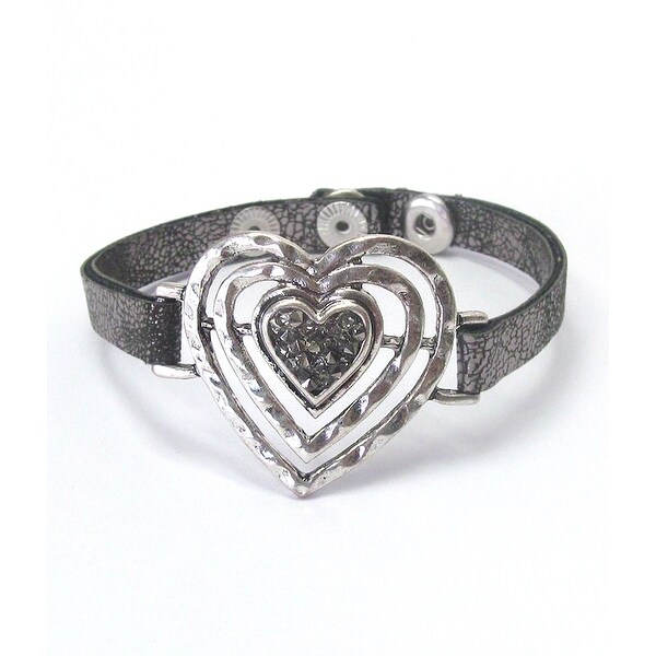 Heart and Leatherette Band Bracelet for Valentine's Day