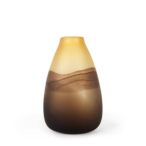 Pyla Large Yellow/Brown Glass Sand Dune Inspired Vase