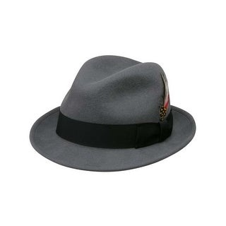Deluxe Pinchfront Fedora Hat in Steel Grey with Black Band