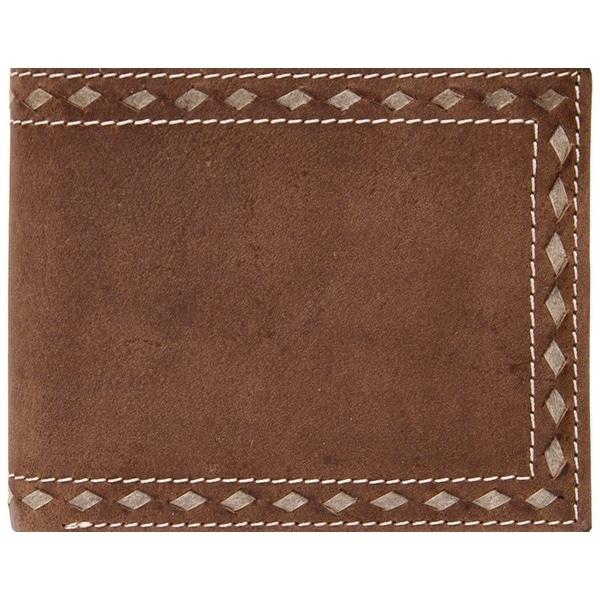 3D Western Wallet Mens Leather Bifold Buckstitch Brown - One size