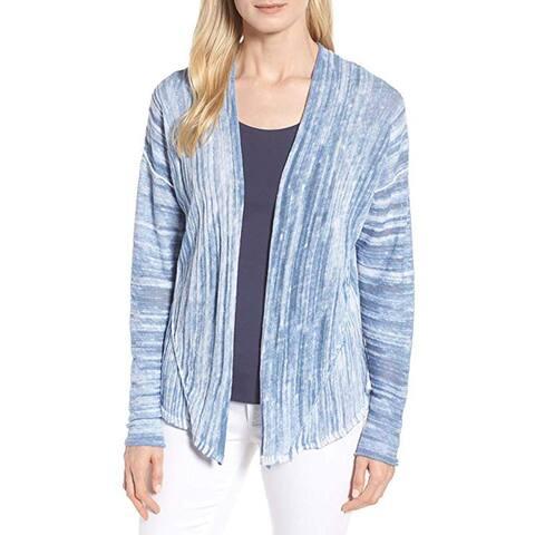 NIC+ZOE Marble Women Large Petite Open Cardigan Sweater, Blue, PP - Petites