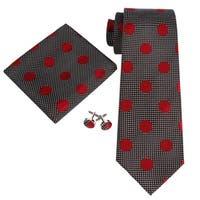 Men's Black And Burgundy Polka Dots 100% Silk Neck Tie Set Cufflinks & Hanky