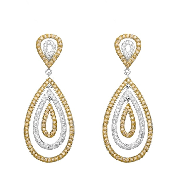 Crystaluxe Teardrop Earrings with Golden & White Swarovski Crystals in Sterling Silver - Multi-Color