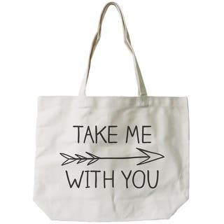 SALE. Women s Natural Canvas Tote Bag - Take Me with You Arrow Sign  -18x14inches 8a7246fce9