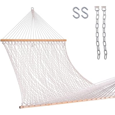 Lazy Daze 13 ft Hand Woven Cotton Rope Double Hammock with Spreader Bars, Hooks and Chains for Patio, Backyard, Beaches