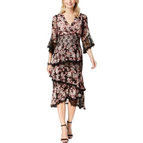 Jax Womens Midi Dress Floral Print Lace Trim