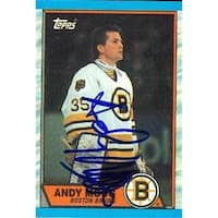 Andy Moog Autographed Hockey Card Boston Bruins 1989 Topps No .160
