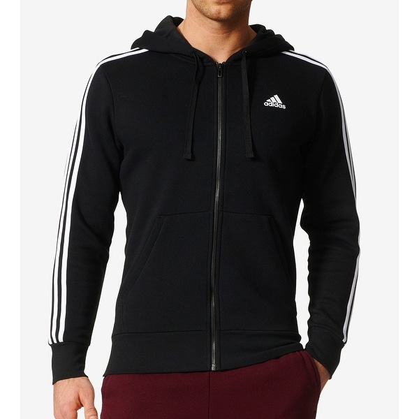 bf69c169082 Shop Adidas Black Mens Size Small S Fleece Front Zip Hooded Jacket ...
