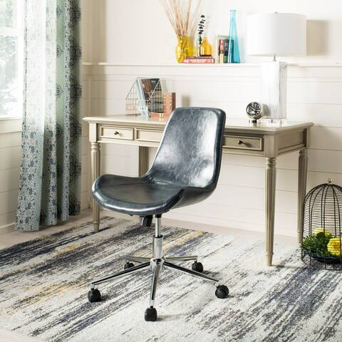 "SAFAVIEH Fletcher Dark Grey/ Chrome Swivel Office Chair - 21.5"" x 25.5"" x 32.2"""