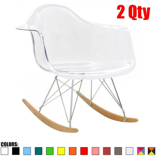 Ordinaire 2xhome Modern Eames Rocking Chair Armchair With Arm Colors Natural Wood  Rockers Dining (Set Of