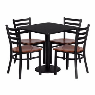 Offex 30'' Square Black Laminate Table Set with Ladder Back Metal Chair and Cherry Wood Seat