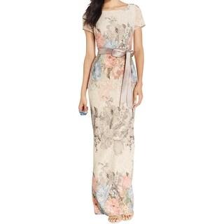 Adrianna Papell Womens Petites Evening Dress Metallic Floral Print