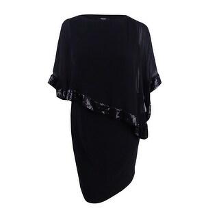 MSK Women's Plus Size Embellished Cape Dress