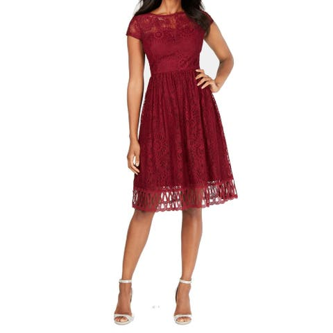 Kensie Women's A-Line Dress Burgundy Red Size 16 Jewel-Neck Lace