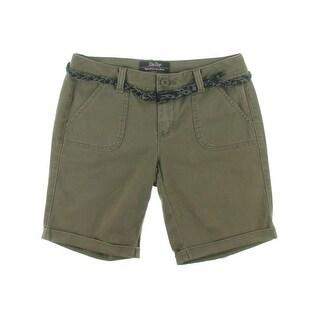 Be Bop Womens Juniors Bermuda, Walking Shorts Cuffed Flat Front