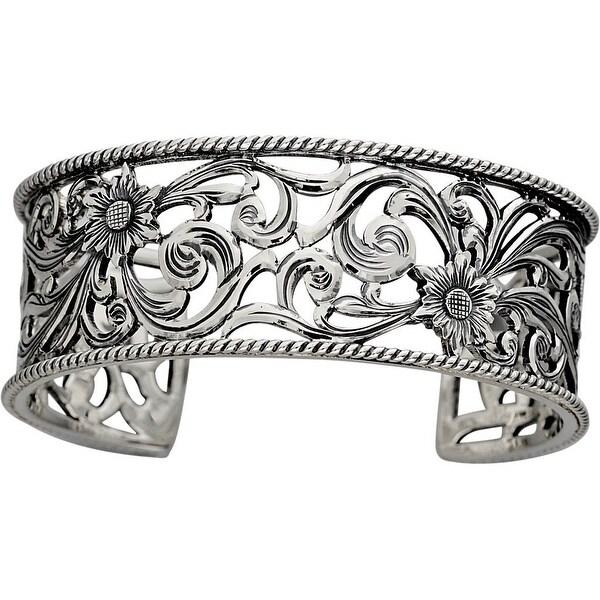 "Vogt Western Women Bracelet Handcut Filigree Rope 1"" Silver 014-068"