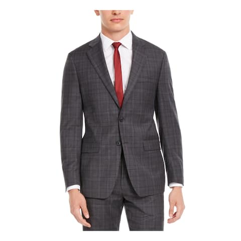 CALVIN KLEIN Mens Gray Windowpane Plaid Stretch Jacket 48R