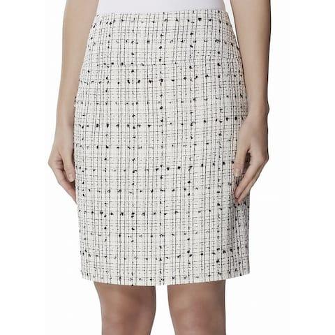 Tahari by ASL Women's Skirt White Size 12P Petite Tweed Straight Pencil
