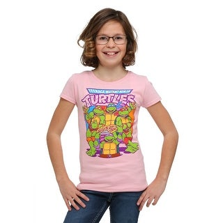 Girl's TMNT Pink Group Pizza T-Shirt - 6X