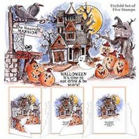 "Art Impressions Try'folds Cling Rubber Stamps 10""X4.5""-Haunted House"