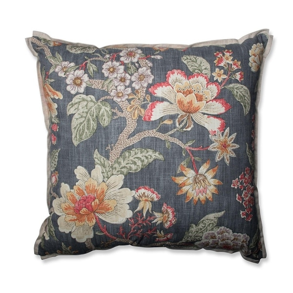 "24.5"" Vintage Blooms Gray Floral Indoor Throw Pillow"
