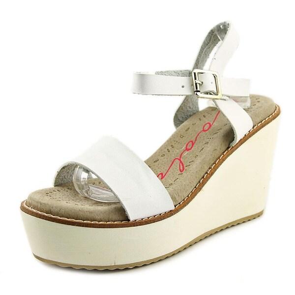 Coolway Creta Women Open Toe Synthetic White Wedge Sandal