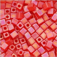 Miyuki 4mm Glass Cube Beads Transparent Frosted Red AB 140FR 10 Grams