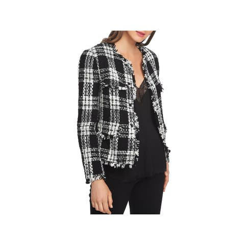 1.State Womens Tweed Jacket Plaid Fashion