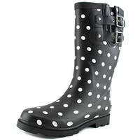 Chooka Downtown Dot Mid Women  Round Toe Synthetic Black Rain Boot