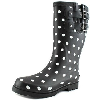 Chooka Downtown Dot Mid Women Round Toe Synthetic Black Rain Boot