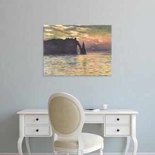 Easy Art Prints Claude Monet's 'The Cliff, Étretat, Sunset' Premium Canvas Art