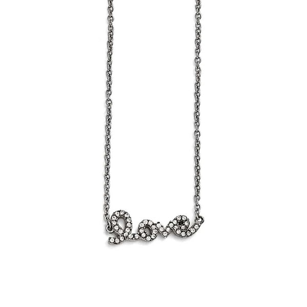 Chisel Stainless Steel Polished Crystal Love Necklace - 17 in