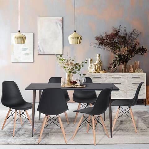 Furniture R 7-Pieces Mid-century Modern Rectangular Dining Set