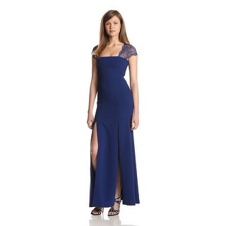 BCBG Maxazria Crepe Lace Back Cap Sleeve Evening Gown Dress - 2