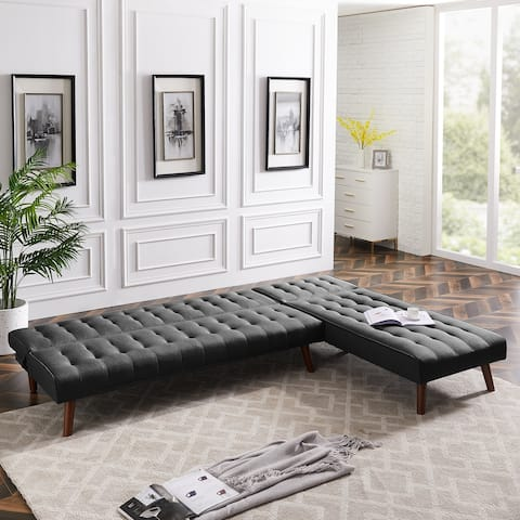 Reversible Sectional Sofa Sleeper Black Fabric With Wood Legs