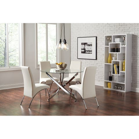 Compson White and Chrome 5-piece Round Dining Set