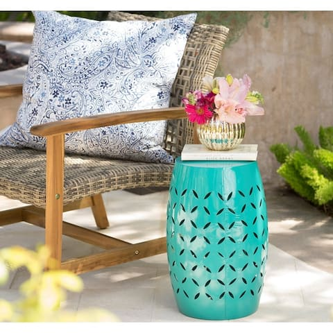 Lilac Outdoor Round End Table by Christopher Knight Home