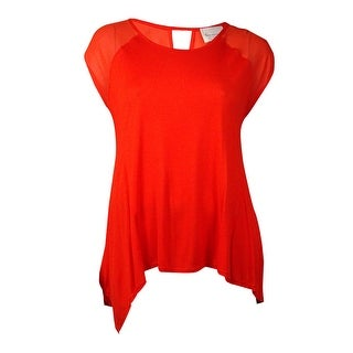 Vince Camuto Women's Chiffon Inset Round Neck Top (XL, Pimento) - xL