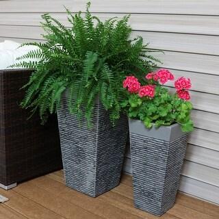 "Sunnydaze High-Rise Fiber Clay 2-Piece Planter Set - 20-Inch and 26-Inch Pots - (1) 20"" & (1) 26"""