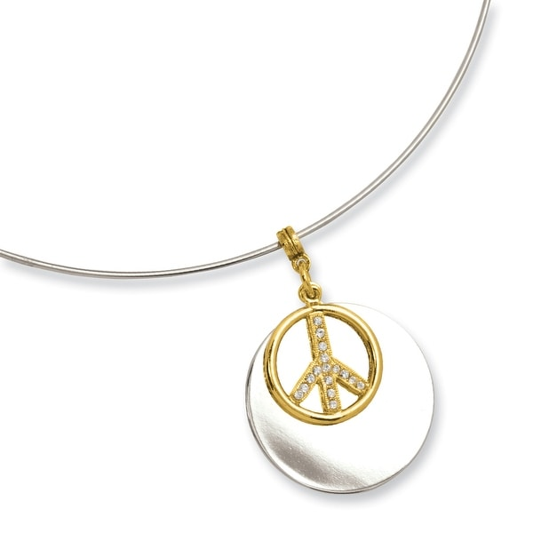 Silvertone with Goldtone and Crystal Peace Symbol 17 Inch Choker Necklace - 17in