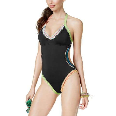 Bar III Womens Better Be Weave It Plunging One-Piece Swimsuit Large Black