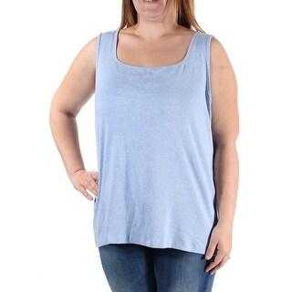 $90 KAREN SCOTT New Womens 1686 Light Blue Square Neck Sleeveless Top XL B+B