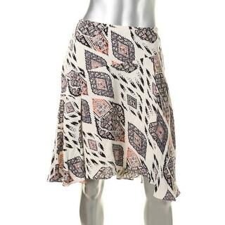 Vince Camuto Womens Crepe Asymmetric Flounce Skirt