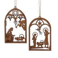 "Club Pack of 24 Rustic Nativity Christmas Ornaments 5.5"" - brown"