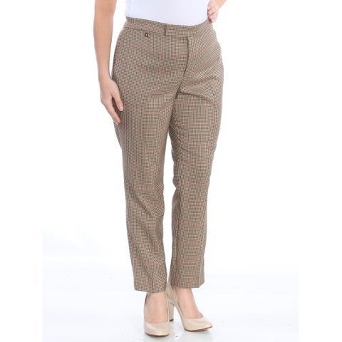 RALPH LAUREN Womens Beige Plaid Wear To Work Pants Size: 12