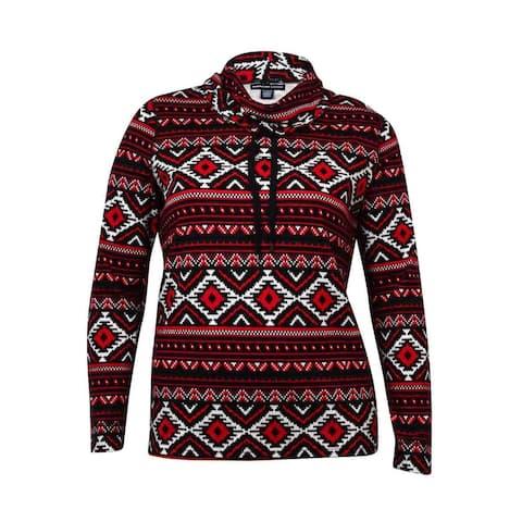American Living Women's Tribal Print Cowl Cotton Sweater - Black Multi